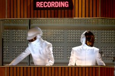 LOS ANGELES, CA - JANUARY 26:  Recording artists Thomas Bangalter (L) and Guy-Manuel de Homem-Christo of Daft Punk perform onstage during the 56th GRAMMY Awards at Staples Center on January 26, 2014 in Los Angeles, California.  (Photo by Kevin Winter/WireImage)