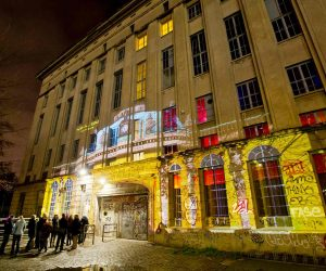 BERLIN, GERMANY - JANUARY 23: (EXCLUSIVE COVERAGE)  Projection of Sanssouci Palace on the facade of Berghain nightclub for Friedrich der Grosse Special Yellow Lounge organized by recording label Deutsche Grammophon at Berghain nightclub on January 23, 2012 in Berlin, Germany.  (Photo by Stefan Hoederath/Getty Images)