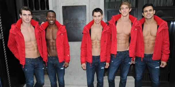 MUNICH, GERMANY - OCTOBER 25:  Male models pose outside the Abercrombie & Fitch flagship clothing store before the opening of Abercrombie & Fitch Munich flagship store on October 25, 2012 in Munich, Germany.  (Photo by Hannes Magerstaedt/Getty Images)
