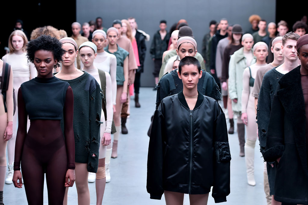 NEW YORK, NY - FEBRUARY 12:  Models walk the runway at the adidas Originals x Kanye West YEEZY SEASON 1 fashion show during New York Fashion Week Fall 2015 at Skylight Clarkson Sq on February 12, 2015 in New York City.  (Photo by Theo Wargo/Getty Images for adidas)