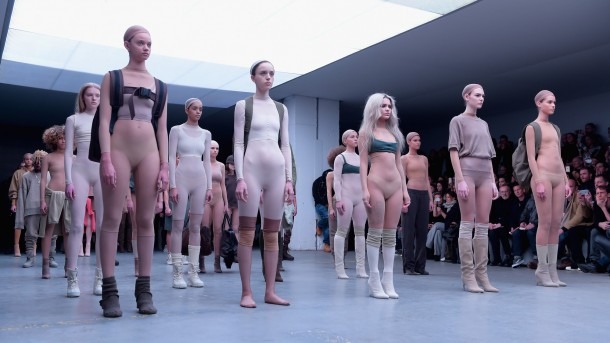 NEW YORK, NY - FEBRUARY 12: Models on the runway at the adidas Originals x Kanye West YEEZY SEASON 1 fashion show during New York Fashion Week Fall 2015 at Skylight Clarkson Sq on February 12, 2015 in New York City. Gareth Cattermole/Getty Images for adidas/AFP