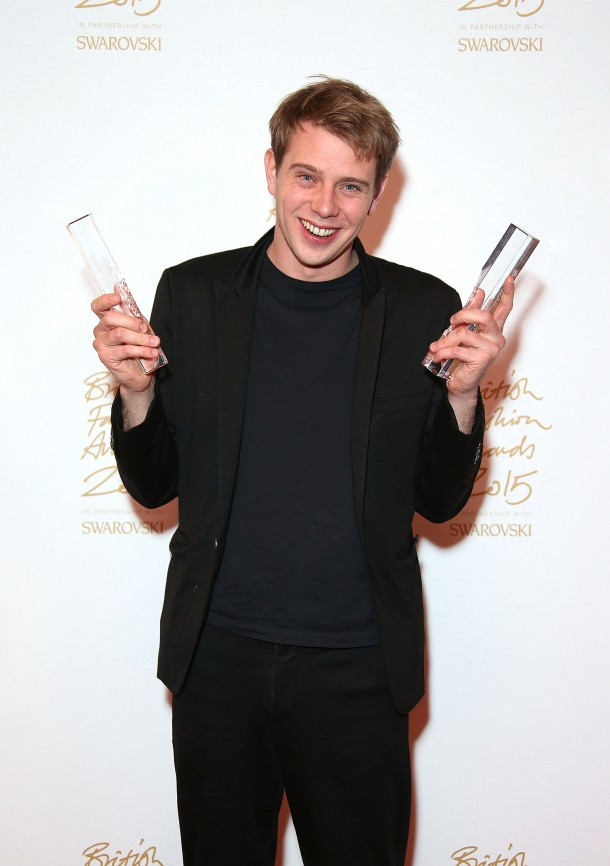 poses in the Winners Room at the British Fashion Awards 2015 at London Coliseum on November 23, 2015 in London, England.