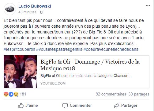 Lucio Bukowski Facebook Post